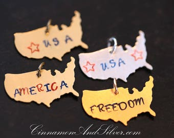 Hand Stamped America Map Pendants for July 4th, USA Map Patriotic Stamped Pendants, Custom Stamped America Map Jewelry