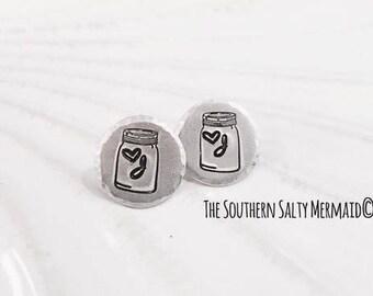 Mason Jar Initial Stud/Post Earrings
