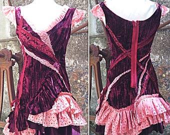 Rose tattered velvet dress