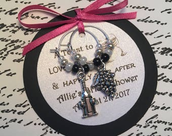 50-95 Custom Wine Themed Wine Charm Favors with 2 Charms - Weddings, Bridal Shower, Rehearsal Dinner, Anniversary, Birthday or Special Event