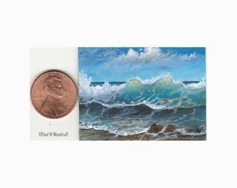 "Original dollhouse mini painting, ocean wave tropical sandy beach tiny miniature 1.5x2"" Paul Woodruff"