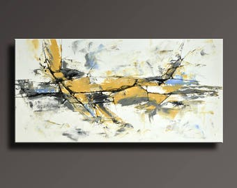 ABSTRACT PAINTING Yellow Gray White Black Blue Painting Original Canvas Art Contemporary Abstract Modern Art 48x24 wall decor - Unstretched