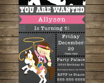 Cowgirl Birthday Invitation - Editable Cowgirl Birthday Party Invitation - 5x7 Invite - Cowgirl Birthday - Cowgirl Wild West Invitation