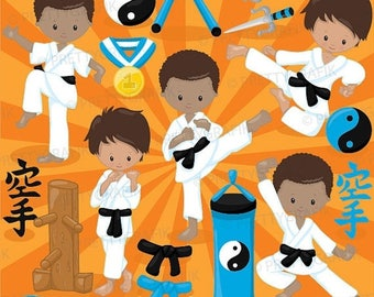 80% OFF SALE Karate kid clipart commercial use, baby hero vector graphics, digital clip art, digital images - CL886