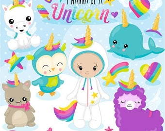 80% OFF SALE Unicorn clipart commercial use, I wanna be a unicorn vector graphics, kawaii digital clip art, digital images  - Cl1078