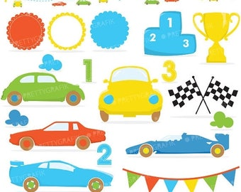 80% OFF SALE car birthday party clipart commercial use,  vector graphics, digital clip art, digital images - CL637