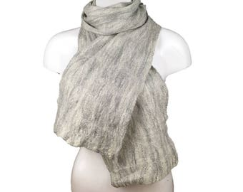 Wet felted grey merino wool scarf