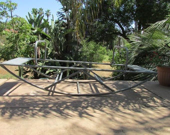 Vintage Retro Playground Galvanized Steel Teeter Totter Solid Well Built Mid Century Out door Fun