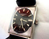 1968 Longines White Gold Black Textured Dial Sub Second Working