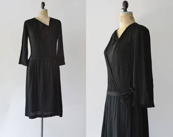For the Trees Dress / 1920s black silk dress / vintage black pleated dress
