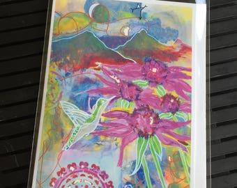 Hummingbird Note Card - Blank Inside 5x7 - Hummingbird Greeting Card