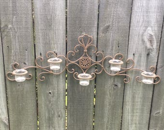 Wall Decor Candle Holder, 5 Tier Candle Holder, Tea Candle Holder, Scroll Wall Decor, Metal Wall Decor,
