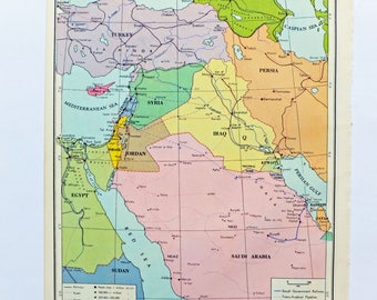 Jordan Map Etsy - Map of egypt and syria
