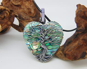 Abalone Tree Of Life Pendant - Wire Wrapped Jewellery - Paua Shell Necklace - Yggdrasil Pendant - World Tree - Heart Pendant - Shell Jewelry
