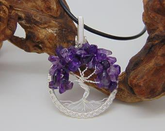 Amethyst Tree of Life Pendant - Yggdrasil Wire Wrapped Pendant - Amethyst Necklace - Wire Wrapped Jewellery Handmade