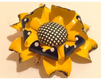 Retro Enamel Flower Brooch, Yellow & Black with White Polka Dots and Black and White Checkerboard center, Mod Flower Pin