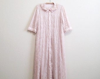 Odette Barsa Robe Large - Dusty Rose Pink Lace Peignoir 1950s