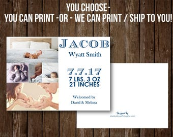 Birth announcement card, Fully customized, Baby announcement, new baby, welcome, stats, baby boy, baby girl , collage, photo, newborn