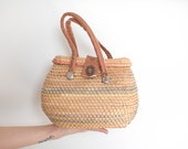 50s Straw bag Vintage 1950s RATTAN WOVEN small purse bag
