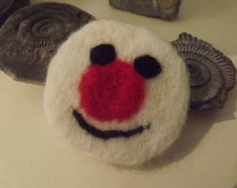 Snowman, Christmas Celebration Brooch/Badge/Pin - needle felted made from natural wool