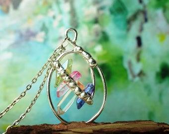 Rainbow Crystal Necklace, Aura Quartz pendant, clothing gift, raw crystal jewelry, Girlfriend Gift
