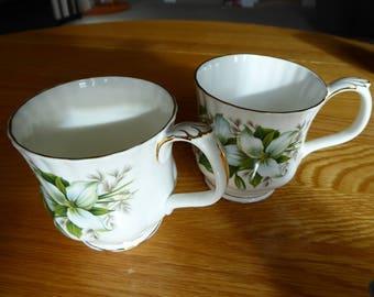 Vintage PAIR of Royal Albert Bone China Coffee Mugs Trillium Pattern Made in England  Montrose Style