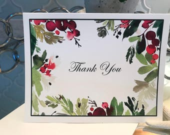 Beautiful Winter Berry and Leaves Thank You Cards, Personalized Stationery, Set of 10