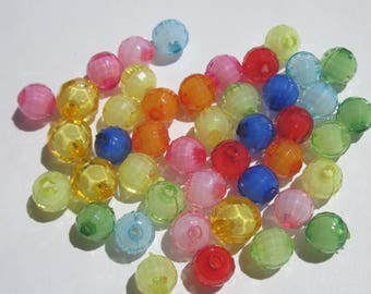 Acrylic multicolored 8 and 10 mm (1 PV54) 44 beads