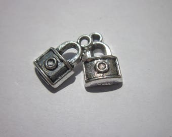 4 charms (29) silver metal lock