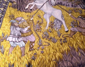 Gorgeous Vintage Unicorn Tapestry 54 x 38