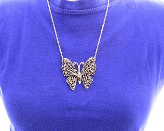 Large Butterfly Necklace, Silver Butterfly Necklace, Art Nouveau Jewelry, Silver Butterfly Jewelry, Insect Jewelry, Antiqued Silver