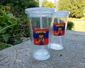Wonder Woman Party Favor, Tumblers w/ Sticker, Wonder Woman Birthday Party, Wonder Woman Favor, Wonder Woman Cup with Wonder Fuel Sticker