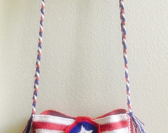 Red Blue and White Crotchet Purse