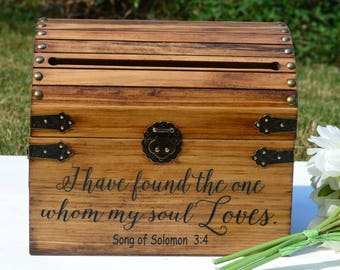 I Have Found The One Whom My Soul Loves Song Of Solomon 3. Engraved Wedding Cards Box, 5 Year Anniversary, Wedding Cardholder, Sign