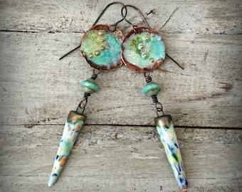 Torch Fired Enamel, Ceramic Fruity Droppers, Enamel Copper Charms, Green Saucer Beads, Boho Earrings, Long Dangle Earrings, Copper Earwires.