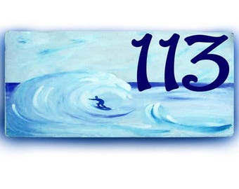 Surf address sign, Surfing wave house numbers, Nautical house numbers, surfing sign, ocean surfing, surfboard, house sign, aqua house sign.