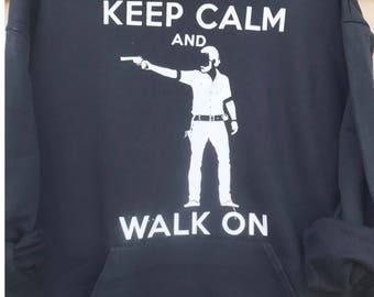 TWD Keep Calm Rick Grimes Adult Hoodie Walking Dead Zombie