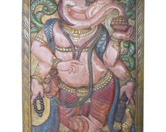 Zen Ganesha Panel Door Carved Ganesh God of Prosperity, Health, Wealth Yoga Studio Decor ECLECTIC