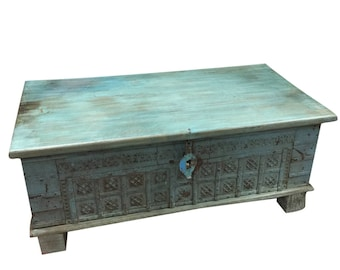 Vintage Trunk Blue Distressed Coffee table, chest Table , chai table Old Pitara Iron nailed Eclectic Interior Clearance Sale