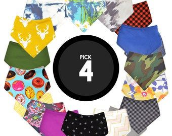 Pick ANY 4 Bandana Bibs | Baby Boy Bibs or Baby Girl Bibs or Gender Neutral Bibs | Bibdanas | Choose 4 Bibs | Baby Shower Gift