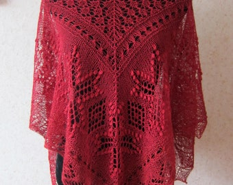 Red handknitted estonian lace and nupps shawl