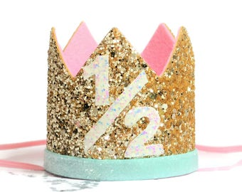 Half Birthday Girl  || Half Birthday Outfit Girl || Half Birthday Pink Gold Birthday Crown || Baby Half Birthday Birthday Crown