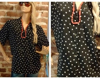 Vintage 1980's Black & White polka Dot Blouse Button Down Size M-L
