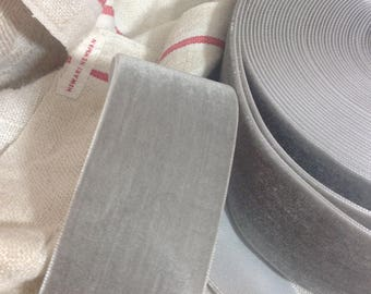 silver grey velvet ribbon