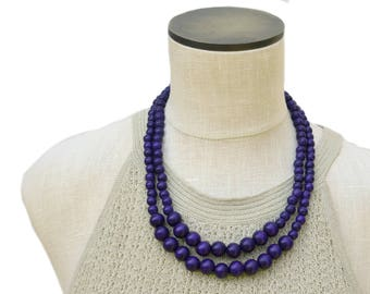 navy blue necklace / navy beaded necklace / dark blue necklace / two strand necklace / wood bead necklace / navy blue bead necklace