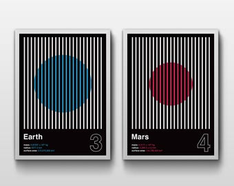 EARTH & MARS (A3 Print Set, Graphic Poster, Space Poster, Geometric)