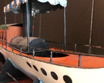 Antique Metal Steamship Riverboat Folk Art