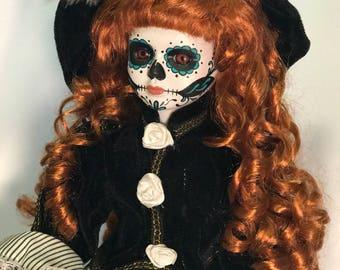 Hand Painted Dia de los Muertos, Day of the Dead Doll -  Creepy Girl Doll, Sugar Skull Doll , Living Dead, Undead, Porcelain Art Doll