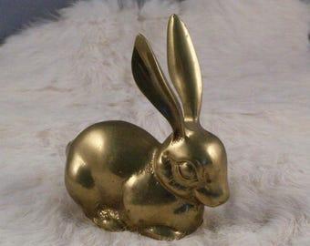 Solid Brass Rabbit Figurine // Home Decor // Baby Rabbit // Adorable // Sweet Animal // Mid Century