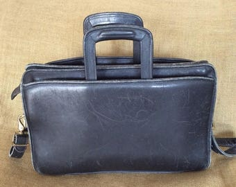 15% SUMMER SALE Vintage JACK Georges black leather briefcase with shoulder strap retractable handles